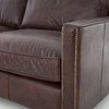 Larkin Vintage Cigar Leather Contemporary Sectional sofas with nailheads