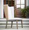 Playlist Vintage Oak Upholstered wingback host dining chair