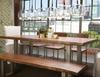 "Montana Solid Acacia Wood Polished Metal Leg Dining Table 82"""