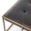 Oxford Tufted Black Leather Square Ottoman Coffee Table with Brass