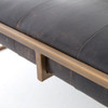 Oxford Tufted Black Leather Square Ottoman Coffee Table with Antique Brass legs