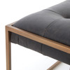 Oxford Tufted Black Leather Ottoman Coffee Table 50""