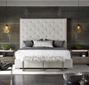 Modern Box-Tufted Panel Upholstered Fabric Queen Platform Bed