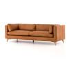 Davenport Mid Century Modern Camel Leather Cushion Back Sofa