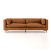 "CCAR-62-039, BECKWITH 94"" SOFA-NAPHINA CAMEL/WEATHERED OAK"