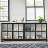 Camila Industrial Black Iron Sideboard with Glass Doors