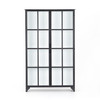 Camila Industrial Black Iron Display Cabinet with Glass Doors