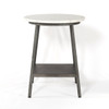 Lark Industrial Iron and White Marble Round End Table
