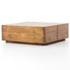 Eagan Rustic Lodge Reclaimed Wood 4 Drawer Square Plinth Coffee Table