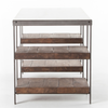 Elliot Industrial Iron + White Marble Top Office Desk with wooden shelf