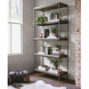 Modern Industrial Iron Frame + Slab Wood Bookshelf