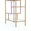 "Helena Geometric  Antique Brass + Glass Shelf Bookcase 83"""