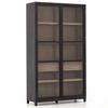 Millie Drifted Black Oak Wood Glass Door Display Cabinet