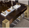 Gibson Hollywood Regency Brushed Gold Mahogany Extending Dining Table