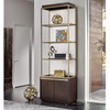 Gibson Upholstered Back Brushed Gold bookcase with cabinet