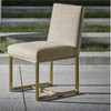 Gibson Modern Fabric Brushed Gold Dining Chair - Nutmeg