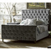 French Country Tufted Gray Velvet Queen Panel Bed with High Footboard