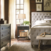 French Country Beige Belgian Linen Tufted Queen Beds