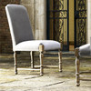 French Country Gray Velvet Upholstered Side Chair