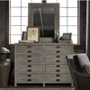 French Printer's Rustic Gray Wood Frame Dresser with Mirror
