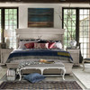 Belgian Mansion Carved Queen Panel Bed - Antiqued White