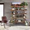 Vera Mid-Century Brown Leather Lounge Chair - Brass