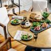 "Aero Tulip Industrial Brass Clad Top Round Dining Table 42"""