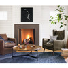 Banks Slipcovered Leather Swivel Club Chair, Fireplace