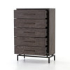 GRETA 5 DRAWER DRESSER,AUTUMN GREY,RUSTIC BRASS,VHAD-036