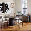 """Kemper Reclaimed Wood Coal Grey Round Pedestal Dining Table 60"""""""
