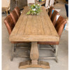 Farmhouse Reclaimed Wood Double Trestle Counter Height Table 118""