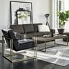 Jensen Modern Black Leather Club Chairs