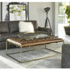 Travers Brown Tufted Leather Cocktail Ottomans
