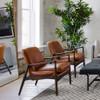 Braden Mid-Century Brandy Tan Leather Club Chair