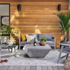 Delwin Grey Teak Square Outdoor Coffee Table 36""