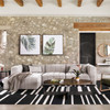 Langham Gray Channel Tufted Square Ottomans
