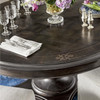 """French Maison Dark Wood Extension Round Dining Table 54"""""""