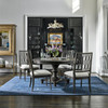 French Maison Dark Wood Expandable Round Dining Table 54""