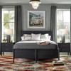 Langley Black Wooden Queen Size Panel Bed Frame