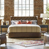 Churchill Antiqued Whiskey Leather Tufted Wingback Queen Bed Frame