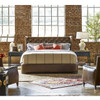 Churchill Antiqued Whiskey Leather Tufted Wingback Queen Beds