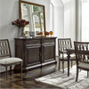 French Maison Dark Wood Upholstered Side Chair