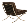 Barcelona Antiqued Dark Brown Leather Lounge Chair