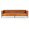 """Marlin Modern Sycamore Tan Leather Tufted Low Back Sofa 96"""""""