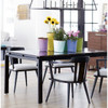 Parsons Black Marble Top/ Dark Bronze Base Dining Tables 74""