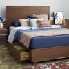 Urban Modern Walnut King Platform Bed Frame with Storage