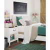 Boho Chic Carved Headboard White Queen Bed