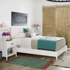 Boho Chic Carved Headboard White Queen Bed Frame