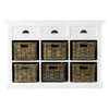 """Coastal French White Console Table with Baskets 46"""""""