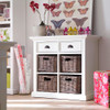 Coastal French White Small Sideboard with Baskets